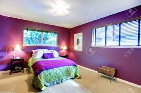 Purple And Green Bedroom Elegant Bedroom With Beige Carpet Floor And Contrast Color Bright
