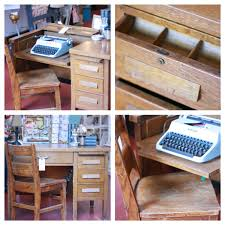 vintage oak typewriter desk brickandmortarliving 265