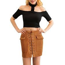 fashion women lace up suede leather skirt high waist vintage pocket preppy con short pencil skirt
