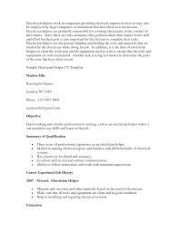 Electrician Helper Resume Skills Free Online Template Help Microsoft