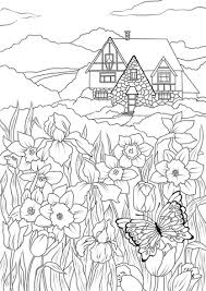 Small Picture Spring Flowers Butterfly and Country House coloring page Free