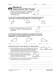 Special Right Triangles Worksheet With Answers Free Worksheets ...