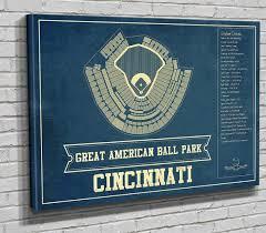 Cincinnati Reds Great American Ballpark Seating Chart Vintage Baseball Fan Print