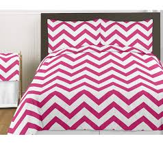 hot pink and white chevron 3pc bed in a bag zig zag king bedding set collection only 41 99