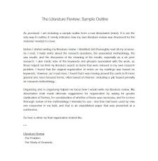 Literature Review Outline Template For Writing A Literature Review Literature Review