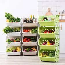 4 tier vegetable fruit storage basket rack kitchen utility stacking stackable