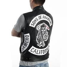 sons of anarchy vest faux leather soa leather vest sleeveless jacket embroidery pattern halley motorcycle punk black patches