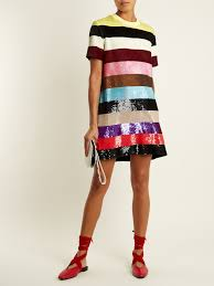 Striped Sequin Embellished Mini Dress Ashish Matchesfashion