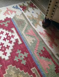 wool and cotton pinkgreen kilim rug by hunter jones faded pink kilim rug