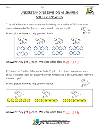 second grade division worksheets sharing sheet 2 answers