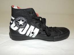 converse pistols chuck taylor black leather shoes hi top sneakers 6 5 for