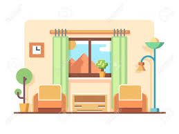 Living room flat style Interior design apartment and furniture Line vector illustration Stock Vector