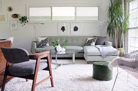 white shag rug living room. White Shag Rug Family Room Midcentury With Bertoia Chair Black And Pillows Button Living