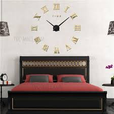 diy 3d acrylic mirror wall clock frameless roman numerals large size 3m011 gold