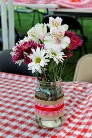 I DO BBQ - Flower Centerpiece in Mason Jars - Couples Shower - Bridal Shower