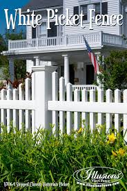 white picket fence. This Beautiful American Dream White Picket Fence Style V706-4 By Illusions  Vinyl Is White Picket Fence