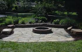 Delighful Flagstone Patio With Fire Pit S Throughout Impressive Design