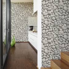 'Bare Mineral' Unusual Faux Large Pebble/Stone wallpaper in Grey and White