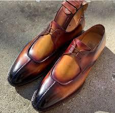 handmade men s leather split toe lace up shoes men s brown lace up stylish shoes leather edges