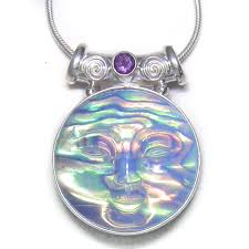 opalite dess backed in paua shell pendant with amethyst offerings jewelry by sajen