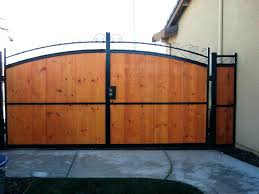 wooden driveway gates gate and fence custom wood residential side iron decorative