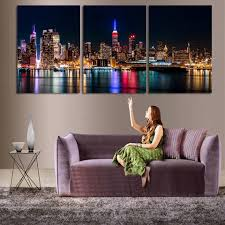 3 piece set wall art city hall night lights beside river wall decoration pictures modern art printed on canvas frameless in painting calligraphy from home  on 3 piece wall art with 3 piece set wall art city hall night lights beside river wall