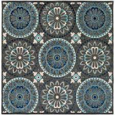 medallion square blue outdoor rugs the home depot