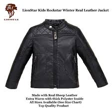 details about lionstar uni kids rockstar top quality real leather warm winter jacket