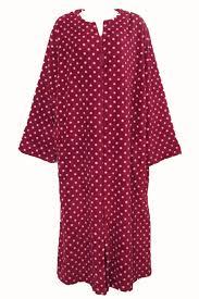 Miss Elaine Size Chart Miss Elaine Red Pink Polka Dot Long Fleece Zip Up Robe