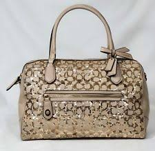 Coach Poppy Signature Sequin East West Satchel Bag Handbag Champagne 26438