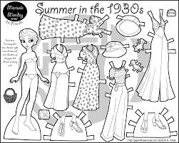 Small Picture A paper doll coloring page celebrating the 1930s with a five piece