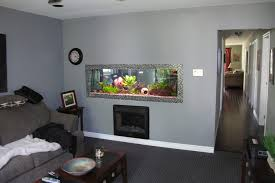 180 gallon aquarium built into living room wall, it is open on both side so