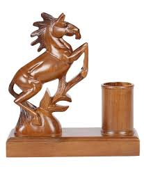 furncoms brown wooden horse pen stand animal figurines