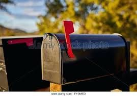 Mailbox Flag Up Black Mailbox With Red Flag Up And Shallow Depth Of