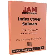 jam paper premium index cardstock 8 5 x 11 110lb salmon 250 sheets pack walmart