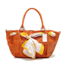 Coach Embossed Scarf Medium Orange Totes 317