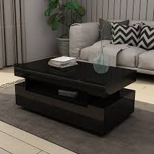 new modern black coffee table 4 drawer