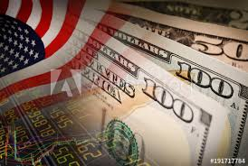 American Flag And Banknotes Usd Currency Money On Stock