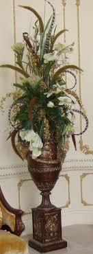Feathers in Flower Arrangement. Beautiful and luxury huge silk flowers  arrangements.