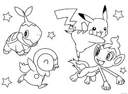 Coloriage Pokemon Pikachu Avec Ses Amis Jecolorie Com