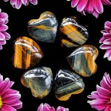blue and gold tiger s eye hearts