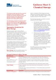 Dangerous Goods Separation Chart Guidance Sheet 1 Chemical Storage Docx