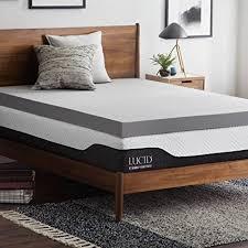 memory foam mattress topper 4 inch. Beautiful Inch LUCID 4 Inch Bamboo Charcoal Memory Foam Mattress Topper  Queen Throughout Inch U