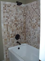 brown mosaic tile bathtub wall surround with steel rain of sectional tiles bathtub decorations bathroom images