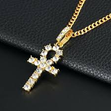 whole iced out chains cross necklaces pendant gold silver plated material key of life necklace men iced out necklace chains