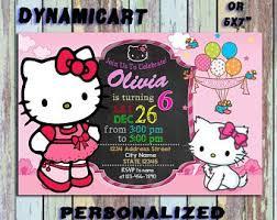 invitation card hello kitty hello kitty invitation etsy