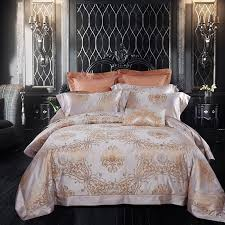 palace king size luxury mulberry silk comforter bedding set white and golden bed set couple bed sheet wedding plant bedding duvet comforter sets blanket