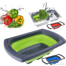 home kitchen dining bar fruit vegetable over the sink collapsible colander silicone kitchen retractable strainer basket tools 3886 home kitchen dining bar