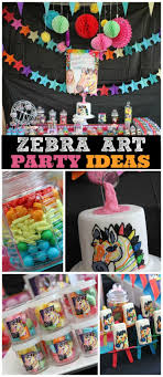 How cool is this neon zebra art birthday party! See more party ideas at  CatchMyParty