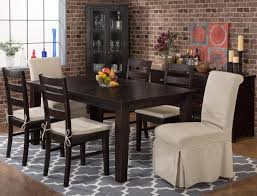 prospect creek rectangle dining table with six slipcovered parson chairs